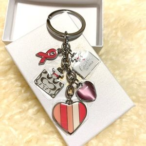 New Coach keychain Pink Heart Christmas Gift